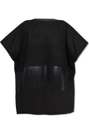 Women Leather Jackets - Women's Artisanal Black Leather Khatoon Pancho La Femme Roje