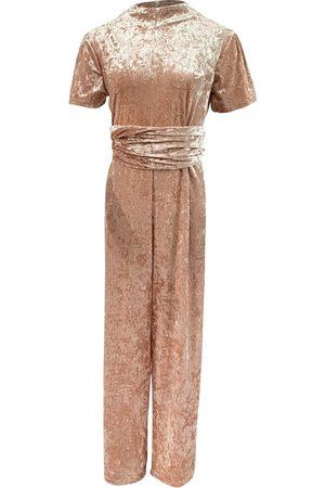 Women's Artisanal Pink/Purple Velvet Shimmy Swingin Jumpsuit & Turban Set Julia Clancey