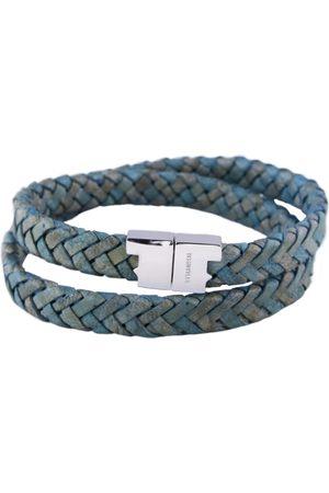 Tissuville Men Bracelets - Jargon Jade Leather Double Wrap Bracelet - Stark Silver