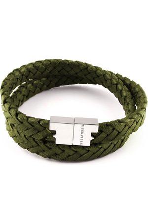 Tissuville Men Bracelets - Olive Leather Double Wrap Bracelet - Stark Silver