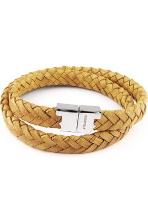 Tissuville Men Bracelets - Mustard Leather Double Wrap Bracelet - Stark Silver