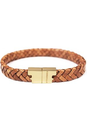 Tissuville Men Bracelets - Rugged Leather Bracelet - Serac Gold