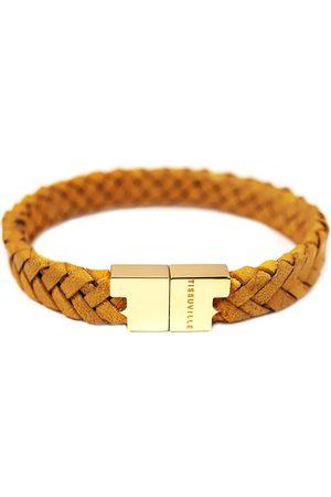 Tissuville Men Bracelets - Mustard Leather Bracelet - Serac Gold