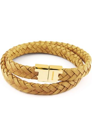 Tissuville Mustard Leather Double Wrap Bracelet - Stark Gold