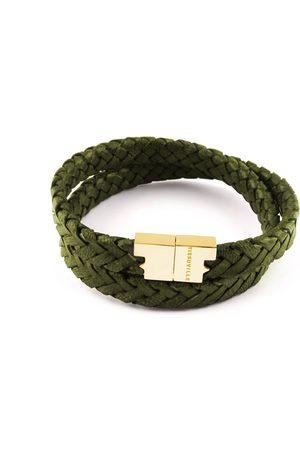Tissuville Men Bracelets - Olive Leather Double Wrap Bracelet - Stark Gold