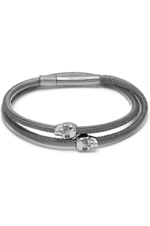 NORTHSKULL Micro Atticus Skull Double Wrap Bracelet in Grey and Silver