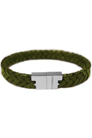 Tissuville Olive Leather Bracelet - Serac Silver