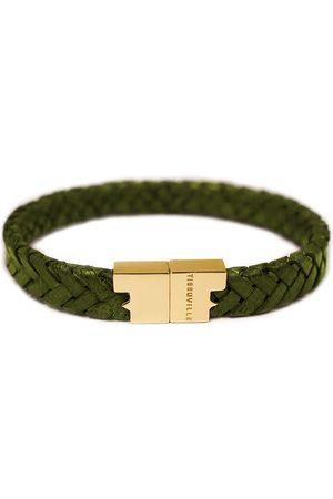 Tissuville Men Bracelets - Olive Leather Bracelet - Serac Gold