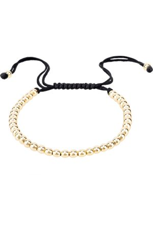 Men Bracelets - Men's Artisanal Black Macramé Metal Bead Bracelet Gold LATELITA