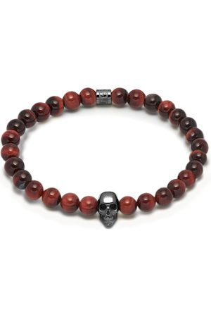 Men's Black Red Tiger Eye & Gunmetal Atticus Skull Bracelet Northskull