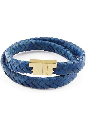 Tissuville Royal Blue Leather Double Wrap Bracelet - Stark Gold