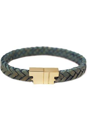 Tissuville Men Bracelets - Jargon Jade Leather Bracelet - Serac Gold