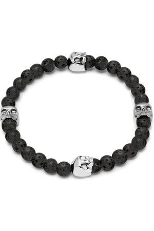 Men Bracelets - Men's Black Lavastone & Silver Quatro Skull Charm Bracelet Northskull