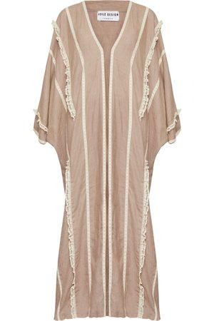 Women Kimonos - Women's Artisanal Pink Linen Blush Washed Beach Kimono Voile Design