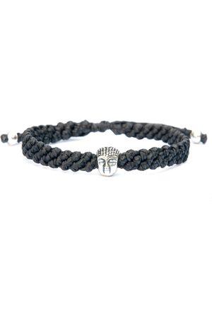Men Bracelets - Artisanal Black Sterling Silver Buddha Bracelet For Men - Handmade Of Rope & - Great Buddha Harbour UK Bracelets