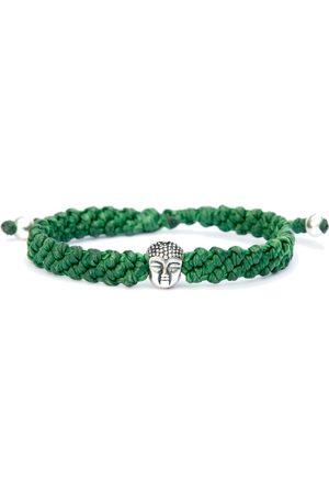 Men Bracelets - Artisanal Sterling Silver Buddha Bracelet For Men - Handmade Of Green Rope & - Great Buddha Harbour UK Bracelets