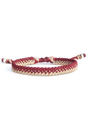 Men Bracelets - Men's Artisanal Sterling Silver England Colours Bracelet - White & Red Waxed Cord & - Handmade Harbour UK Bracelets