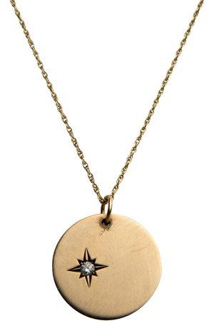 Women's Artisanal Black Solid Gold Disc With Star Set Diamond Taylor Black Jewellery