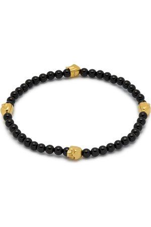 Men Bracelets - Men's Black Micro Onyx & Gold Quatro Skull Charm Bracelet Northskull