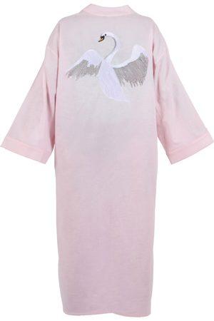 Women Kimonos - Women's Artisanal Pink/Purple Linen Swan Kimono