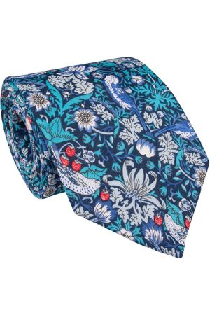 Men Neckties - Men's Artisanal Blue Cotton Liberty Strawberry Thief Tie LE COLONEL