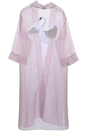 Women's Artisanal Pink/Purple Silk Swan Kimono