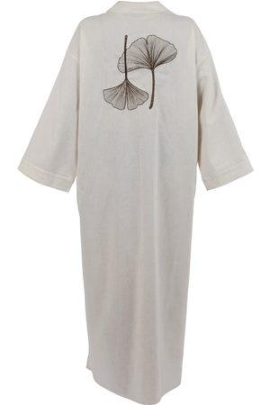 Women Kimonos - Women's Artisanal Natural Linen Lilac Kimono