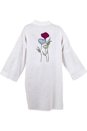 Women Kimonos - Women's Artisanal White Linen Carnation Kimono
