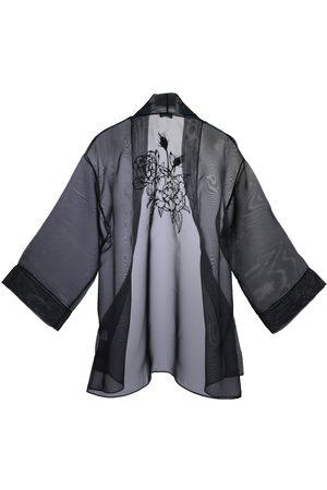 Women's Artisanal Black Silk Peony Kimono