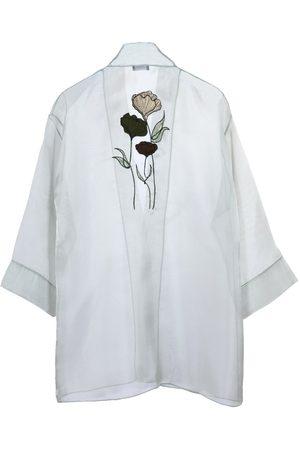 Women Kimonos - Women's Artisanal Green Silk Carnation Kimono