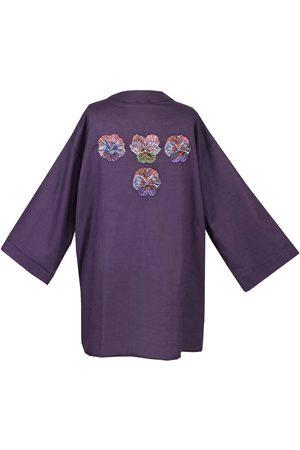 Women Kimonos - Women's Artisanal Violet Linen Kimono