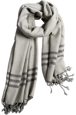 Men's Natural Fibres Grey Cotton Kumsal Scarf Smoke & Charcoal Luks Linen