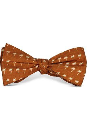 Men's Artisanal Orange Cotton Palm Down Bow Tie Tom Astin
