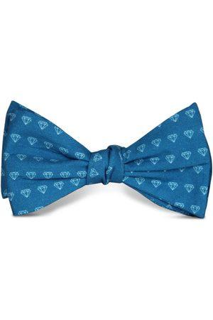 Men's Artisanal Blue Cotton Forever Bow Tie Tom Astin