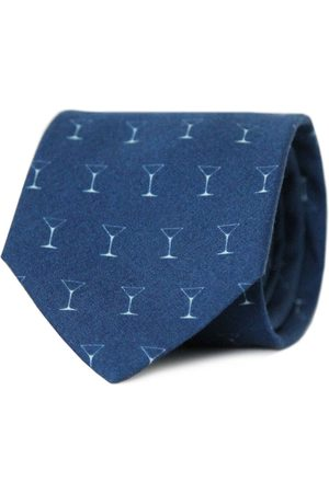 Men's Artisanal Blue Cotton Shaken Not Stirred Necktie Tom Astin