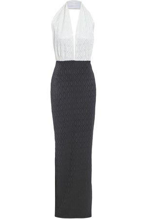 Women's Artisanal Black Fabric Dakota Halter Neck Backless Monochrome Lace Dress Medium Sarvin
