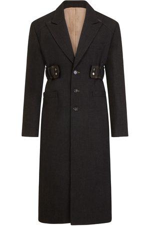 Men's Black Cotton Charcoal Peak Lapel Coat 38in 1x1Studio