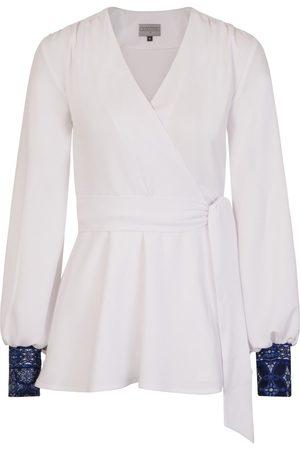 Women Wrap tops - Women's White Crepe Rita Wrap Top Large COCOOVE