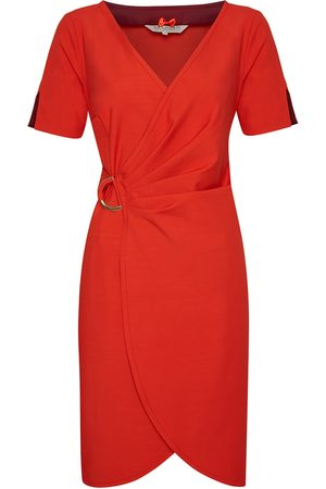 Women's Red Cotton Pencil Dress No. 707 Cherry Tomato Medium Menashion
