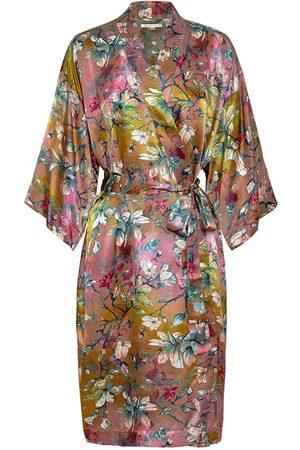 Women Bathrobes - Women's Silk Magnolia Kimono Robe XL Genevie