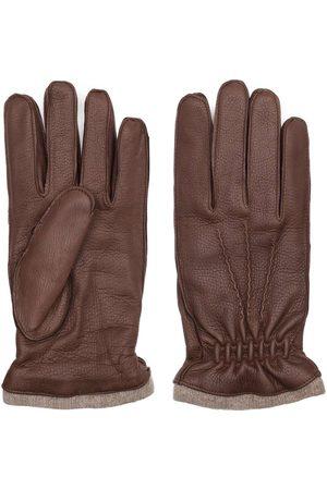 Men's Carbon Neutral Brown Cashmere Handmade Deer Leather Gloves Carlo 8in Dalgado