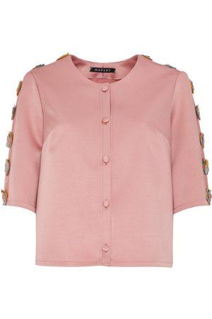 Women Leather Jackets - Women's Artisanal Pink Silk Tabby & Leather Embellished Jacket Large Manley
