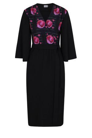 Women Bathrobes - Women's Black Crepe Pearl Wrap Dress Medium COCOOVE