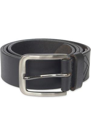 Men's Black Stainless Steel Handmade Leather Belt 44in VIDA VIDA