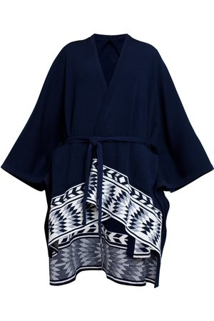 Women Ponchos & Capes - Women's Low-Impact Black Wool Ivana Merino Asymmetrical Cape Large Rumour London