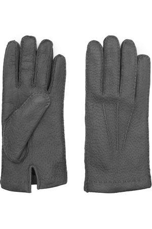 Men Gloves - Men's Carbon Neutral Grey Cashmere Handmade Peccary Leather Gloves Salvatore 9in Dalgado