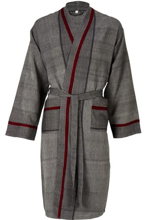 Women Bathrobes - Natural Fibres Grey Cotton Mete Lounge Gown Charcoal Medium Luks Linen
