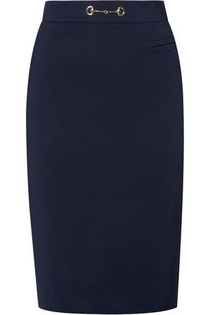 Women Pencil Skirts - Women's Blue Cotton Pencil Skirt No. 904 Large Menashion