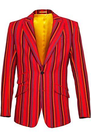Men Blazers - Men's Low-Impact Red Cotton Mara Striped Blazer Small KOY Clothing