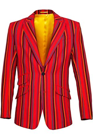 Men's Low-Impact Red Cotton Mara Striped Blazer 4XL KOY Clothing